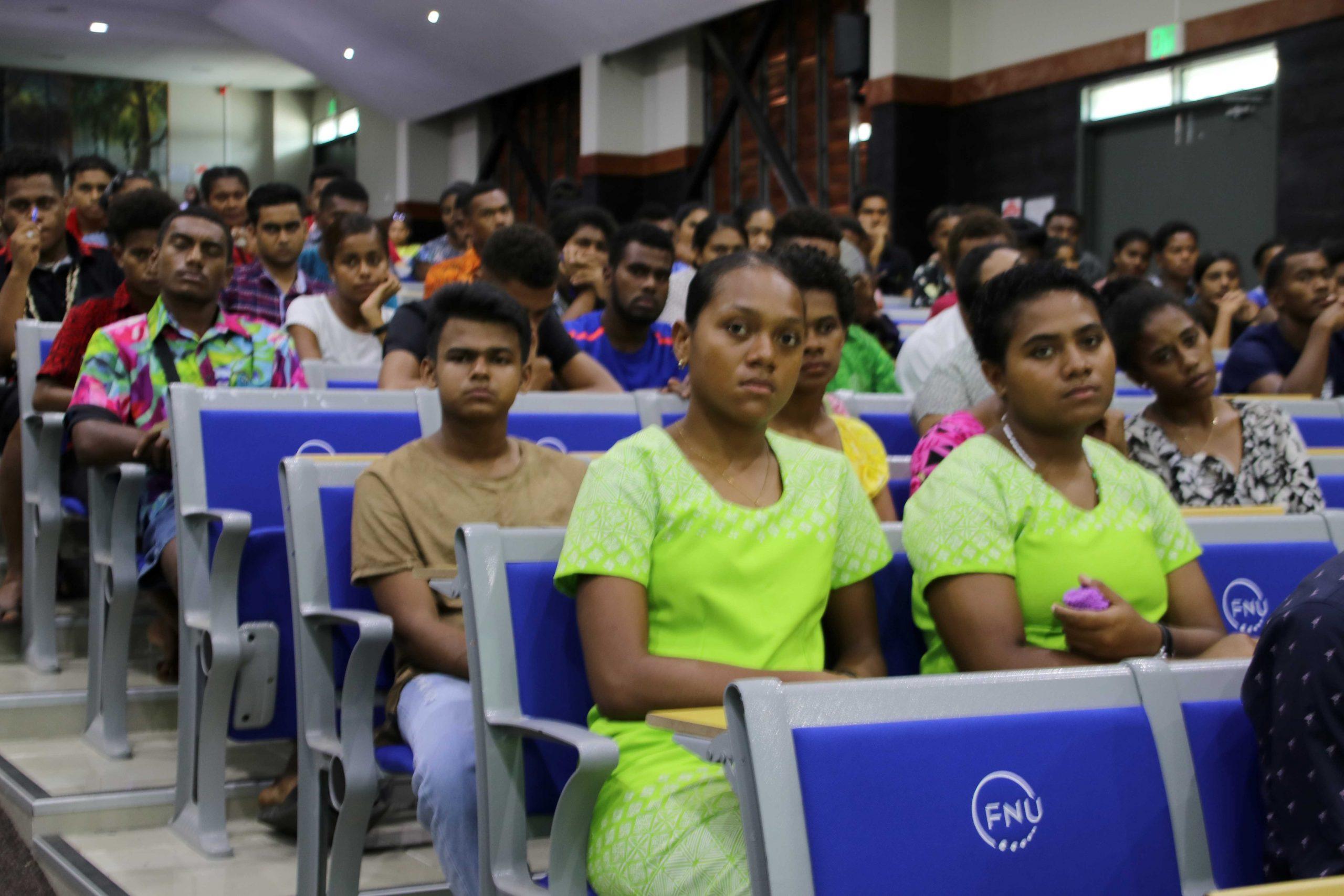 Aspirig teachers listening attentively during FNU orientation session at Natabua Campus Lautoka.