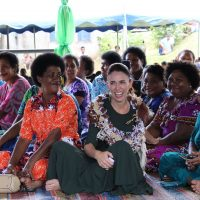 NZ PM Honorable Jacinda Arden with the villagers of Tamavua-I-wai.