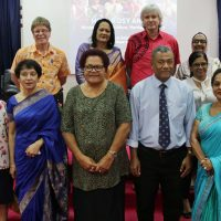 The Minister for Education, Heritage and Arts, Honourable Rosy Akbar with staff of FNU at Nasinu Campus